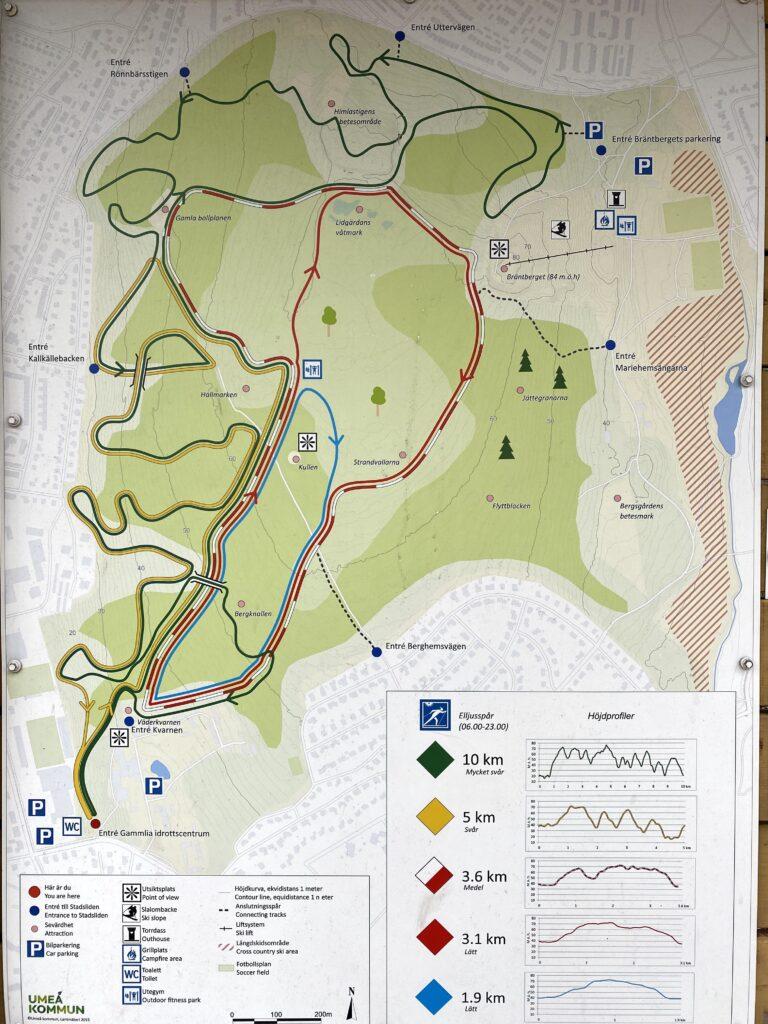Karta över motionsspår i Gammlia/Stadsliden, Umeå